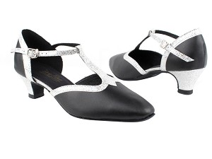"9627 Black Leather_107 Silver Scale Trim with 1.3"" Heel in the photo"