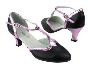 "9627 Black Leather_150 Purple PU Trim with 2.5"" low heel in the photo"