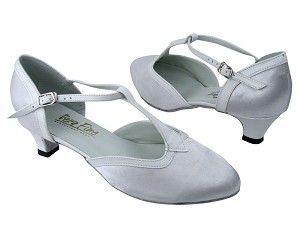 "9627 White Satin_White Leather Trim with 1.3"" Cuban heel in the photo"