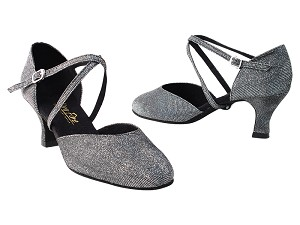 "9691 105 Glitter Black Satin with 2.75"" heel in the photo"