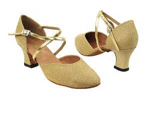 "9691 106 Glitter Gold Satin_62 Gold Pu Strap with 2.2"" Thick Heel in the photo"