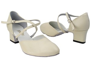 "9691 15 Creamy White Leather with 2"" Thick Cuban Heel (3149) in the photo"