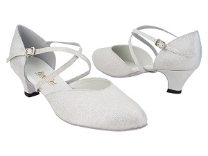 "9691 22 Silver Glitter Satin with 1.3"" Cuban Heel (387) in the photo"