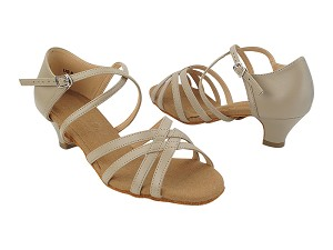 "C1606 Beige Leather with 1.2"" Cuban Heel (5028) in the photo"