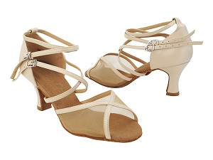 "C1630 Light Beige Leather_Flesh Mesh with 2.5"" Heel (PG 11046) in the photo"
