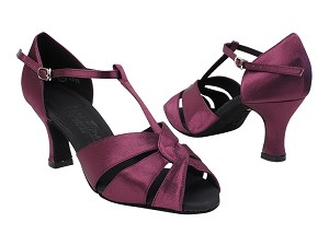 "C6006 112 Red Purple Satin with 2.5"" PG Heel in the photo"