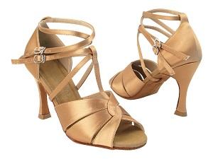 "C6006 211 Tan Satin_Double X-Straps with YTG-1173_3.5"" Heel in the photo"