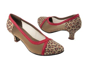 C6815 BD41 Leopard Satin_BC8 Red Light Leather Trim
