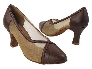 C6815 Dark Tan Leather_Flesh Mesh with Women's PG _2.5 inch Heel in the photo