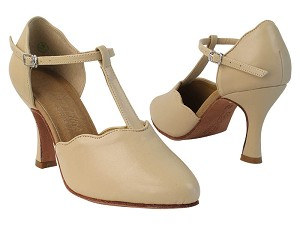 C6819 284 Tan Nanofiber Faux Leather with YQG_11045_3 inch Heel in the photo