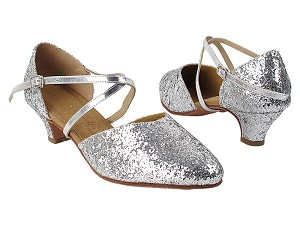 "C9691 36 Silver Sparkle with 5028_1.2"" Cuban Heel in the photo"