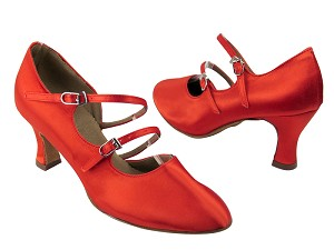 "PP201 Red Satin with 2.5"" heel in the photo"
