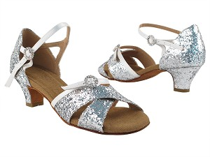 "PP204 36 Silver Sparkle_85 White Satin Trim with 1.2"" Heel in the photo"