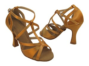 "S1002 153 Tan Satin with 3"" Heel (YQG) in the photo"