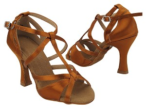 "S1002 301 Copper Tan Satin with 3"" Heel (YQG) in the photo"