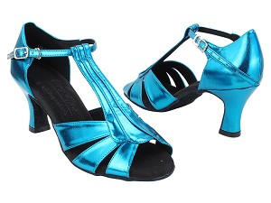 "S2806 131 Metallic Blue PU with 2.5"" Heel (PG 11046) in the photo"