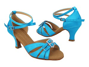 "S92307 104 Light Blue Satin_X-Strap Ankle with Loop with 2"" Slim Heel (MTXZ) in the photo"