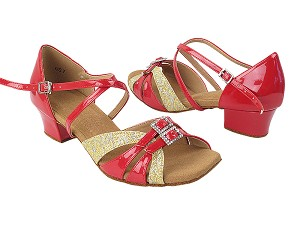 S92307 265 Gold Flower Glitter_264 Red Patent