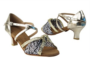 "S92309 213 Soft Gold PU_B_Gold Braid with 2"" Slim heel in the photo"