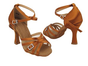 "S92327 Copper Tan Satin_Flesh Mesh with 3"" Heel (YQG 11045) in the Photo"