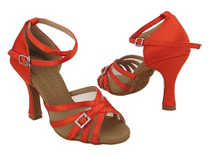 "S92327 Red Satin_Flesh Mesh with 3"" Heel (YQG) in the photo"