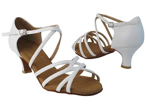 "S9261 218 White Nanofiber Faux Leather with 2"" Slim Heel in th photo"