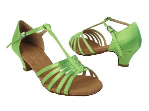 "S9273 137 Green Satin with 1.2"" Cuabn Heel in the photo"