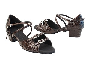 "SERA1620 232 Coffee Brown Crocodile PU_SERA1605 BackStrap with 1.5"" medium heel in the photo"