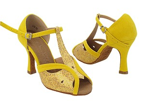 "SERA2800 55 Gold Scale_248 Yellow Velvet with 3"" Flare Heel (5059) in the Photo"