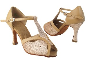 "SERA2800 8 Gold Stardust_220 Beige Brown Leather Trim with 3.5"" TYG Heel in the photo"