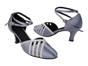 "SERA3530 180 Grey Satin_10 Silver Stardust Trim with 2.5"" Heel (2040) in the photo"