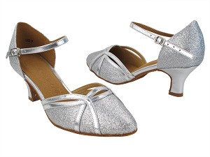 "SERA3540 10 Silver Stardust_61 Silver PU Trim-H with 2"" Slim Heel (MTXZ) in the photo"