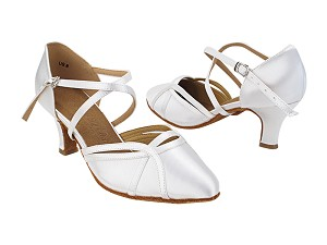 "SERA3540 85 White Satin_X-Starp Arch with 2.5"" Heel (2040) in the photo"