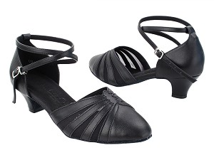 "SERA3543 Black Leather_Black Mesh with 1.2"" Cuban Heel (5028) in the photo"