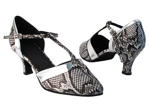 "SERA3551 243 Black Snake PU_61 Silver PU Trim with 2.5"" low heel in the photo"