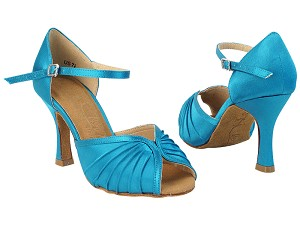 "SERA3830 123 Teal Satin with 5059_3"" Flare Heel in the photo"
