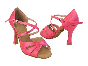SERA3840 121 Rose Satin_X-Strap Arch with (5059) 3 inch Flare Heel in the photo