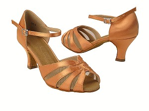 "SERA3850 153 Tan Satin_Flesh Mesh with 2.5"" Heel in the photo"