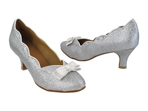 "SERA5515 10 Silver Stardust_White Satin Bow with 2.5"" Heel (2040) in the photo"