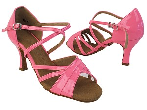 "SERA6030 225 Fluorescent Pink Patent_X-Strap Arch with 2.75"" Heel in the photo"