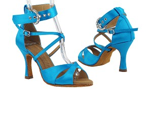 "SERA7002 120 Blue Satin with 3"" Heel in the photo"