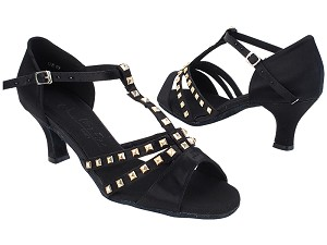 "SERA7012 Black Satin_Gold with 2.5"" Heel (2040) in the photo"