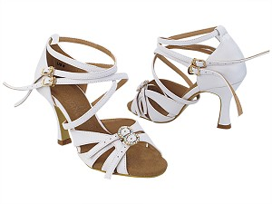"SERA7020 218 White Leather with 3"" Flare Heel (5059) in the Photo"