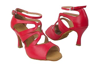"SERA7039 217 Red Nanofiber Faux Leather with 3"" Flare Heel in the photo"