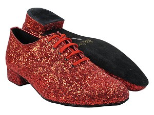 "2503 10 Red Sparkle with 1"" Standard Heel in the photo"