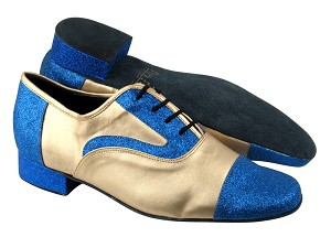 "916102 234 Blue Stardust_57 Light Gold Leather with 1"" Standard heel in the photo"