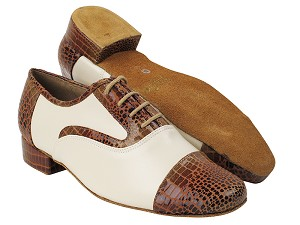 "916102 304 Brown Snake_F_B_15 Creamy White Leather_M with 1"" Standard Heel in the photo"