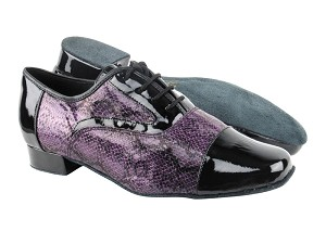 "916102 Black Patent_F_B_252 Purple Snake_M with 1"" Standard heel in the photo"