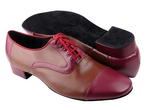 C916102 Burgundy Leather & Dark Tan Leather
