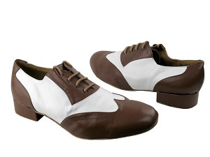 "M100101 133 Coffee Brown Leather & White Leather with 1"" Heel in the photo"